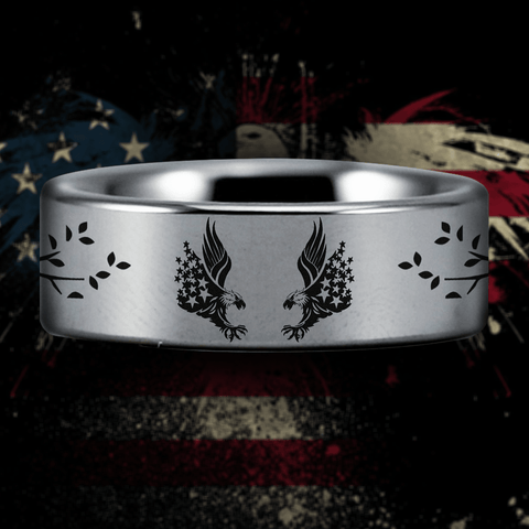 Silver Tungsten American Eagle Ring