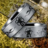Silver Tungsten Armed Couple Ring