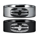 Tungsten Combat Action Badge Ring