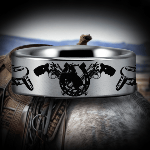 Silver Tungsten Cowboy Ring