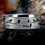 Silver Tungsten Raven and Branches Ring