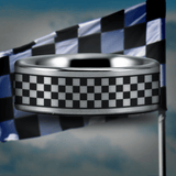 Silver Tungsten Racing Flag Ring