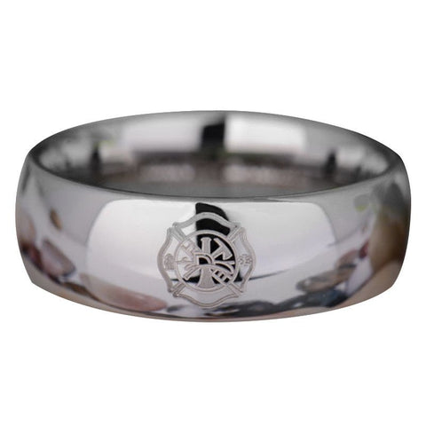Silver Tungsten Firefighter's Ring