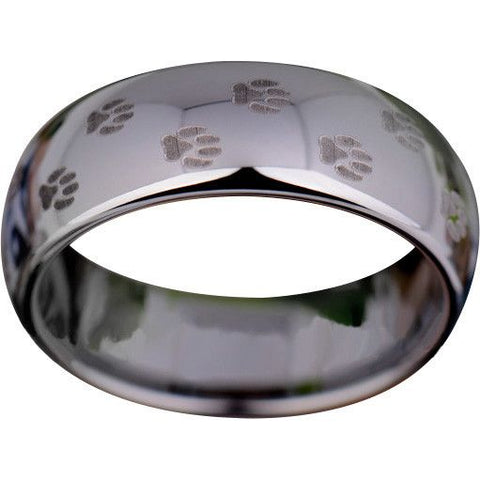 Silver Tungsten Pet's Paw Print Ring