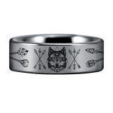 Tungsten Wolf and Arrows Ring