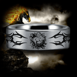 Silver Tungsten Horse on Fire Ring