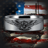 Silver Tungsten Enlisted Aviation Warfare Specialist Ring