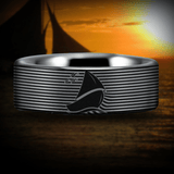 Silver Tungsten Sailboat Ring
