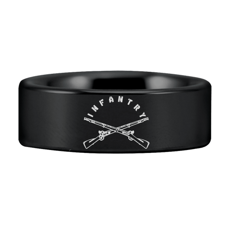 Black and Silver Tungsten Infantry Ring