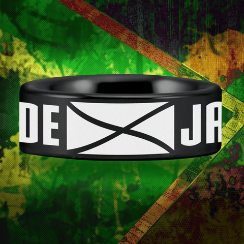 Black Tungsten Jamaican Pride Ring