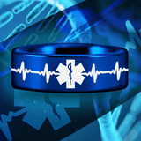 Blue Tungsten Medical Heart Beat Ring