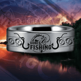 Silver Tungsten Gone Fishing Ring