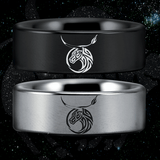 Tungsten Taurus Zodiac Ring (8mm)