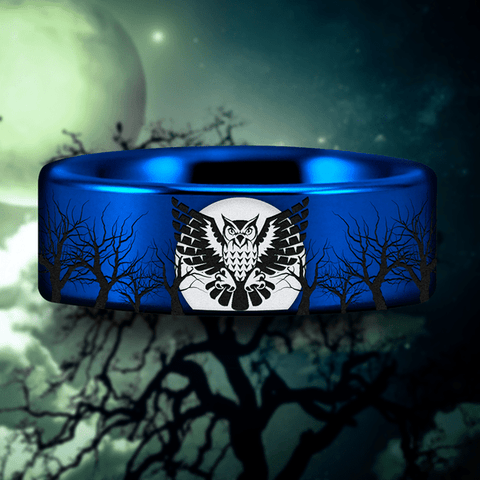 Blue Tungsten Owl and Trees Ring