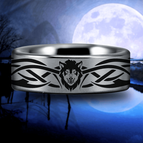 Silver Tungsten Tribal Wolf Ring