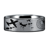 Silver Tungsten Paratrooper Ring