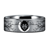 Tungsten Carbide Wolf and Trees Ring