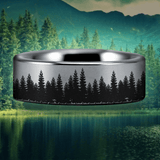 Silver Tungsten Tree Scenery Ring