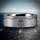 Silver Tungsten USN Ring