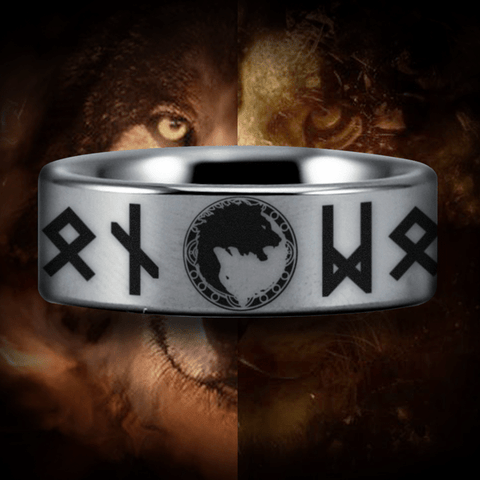 Silver Tungsten Lion and Wolf Ring