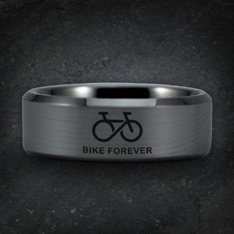 Silver Tungsten Bike Forever Ring