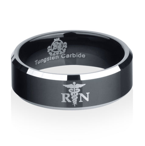 Black Tungsten Registered Nurse Logo Ring - Friends of Irony LLC