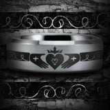 Silver Tungsten Claddagh Ring
