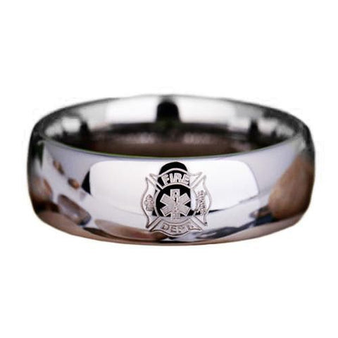 Silver Tungsten Firefighter Medical Ring