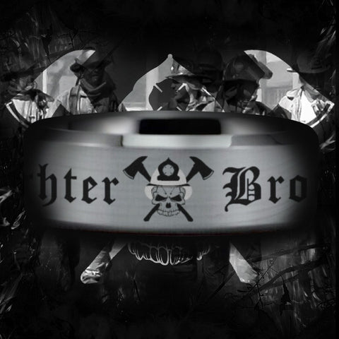Silver Tungsten Firefighter Brotherhood Ring