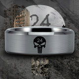 Silver Tungsten 24th Infantry Skull Ring