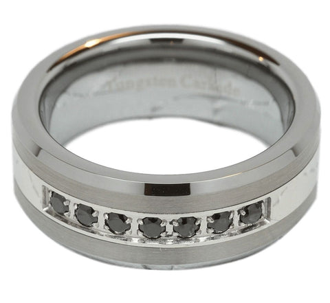 Beveled Silver Tungsten Wedding Ring - Friends of Irony LLC