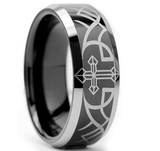 Black Tungsten Cross Etched Ring - Friends of Irony LLC