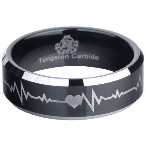 Black Tungsten Forever Love Ring - Friends of Irony LLC