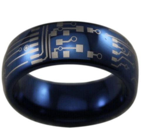 Blue Tungsten Circuit Board Ring - Friends of Irony LLC