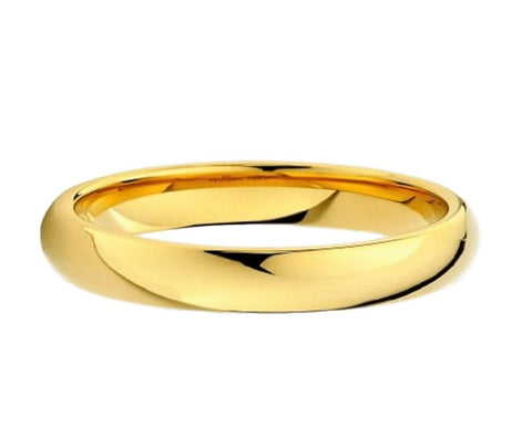 Jewelry - Classic Polish Gold Tungsten Wedding Ring