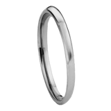 Jewelry - Classic Polish Silver Tungsten Wedding Ring