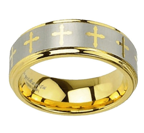 Jewelry - Gold Tungsten Cross Ring
