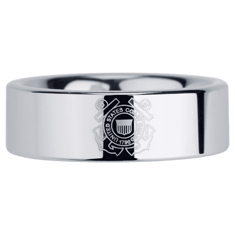 Jewelry - Silver Tungsten Coast Guard Ring