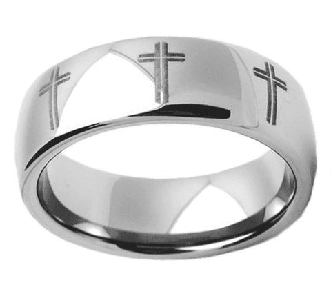 Jewelry - Silver Tungsten Cross Ring