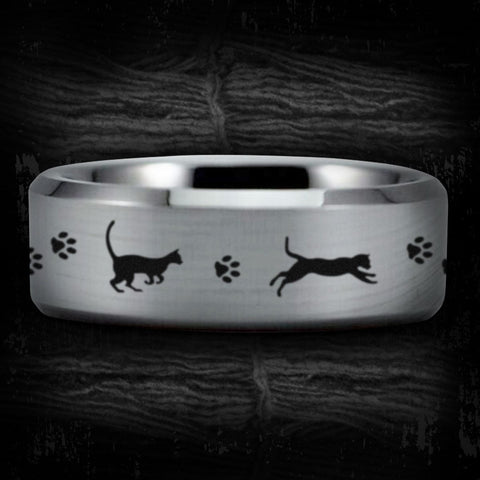 Silver Tungsten Lazy Cat Ring