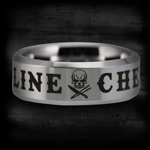 Silver Tungsten Line Chef Ring