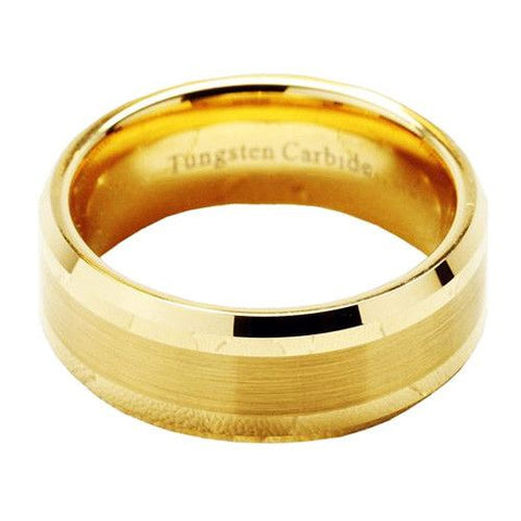 Shiny Gold Tungsten Wedding Ring
