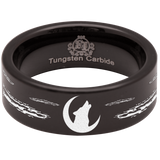 Tungsten Howling Wolf on Moon Ring