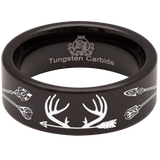 Tungsten Deer and Arrows Ring