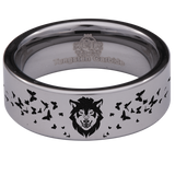 Silver Tungsten Wolf and Butterfly Ring
