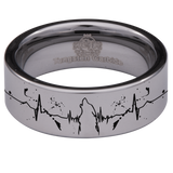 Tungsten Howling Wolf Lifeline Ring