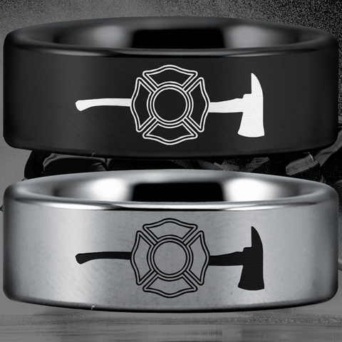 Tungsten Firefighter's Axe Ring