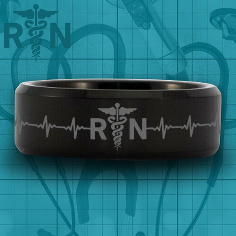 Black Tungsten Registered Nurse Heart Rate Ring - Friends of Irony LLC