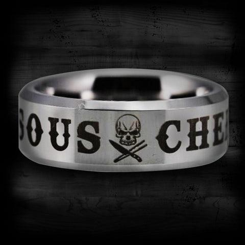 Silver Tungsten Sous Chef Ring