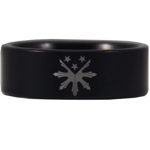 Black Tungsten Filipino Stars and Sun Ring - Friends of Irony LLC